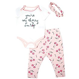 Mini Heroes™ 3-Piece Cherry on Top Bodysuit, Pant and Headband Set in Pink