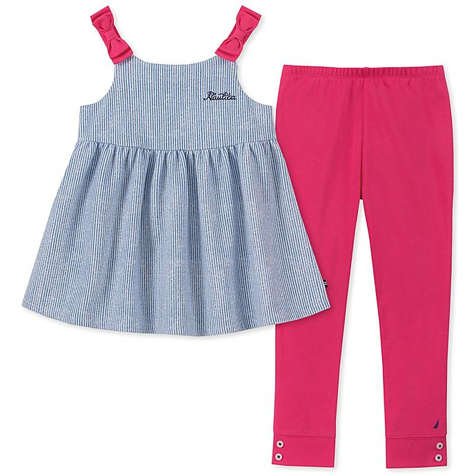 Alternate image 1 for Nautica® 2-Piece Tie-Shoulder Top and Legging Set in Chambray