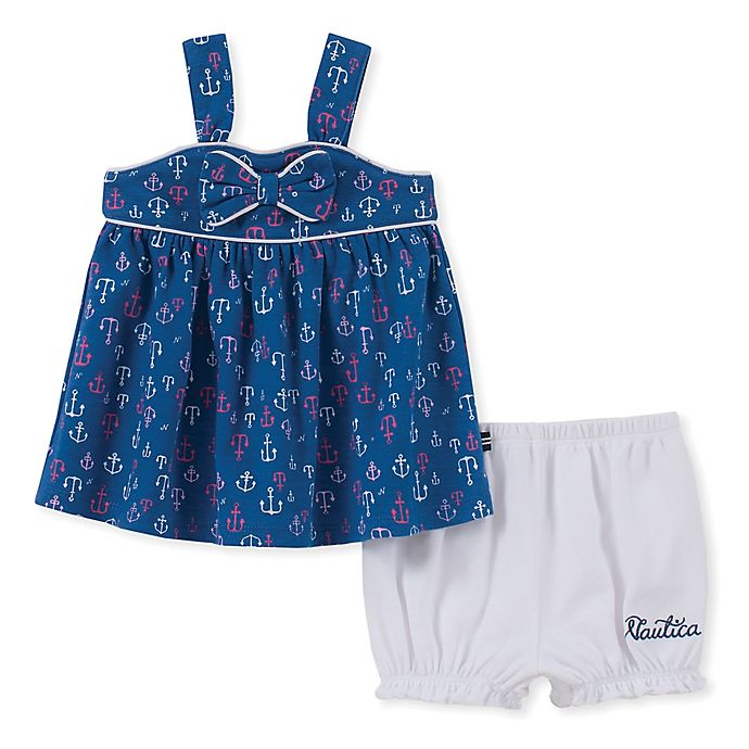Alternate image 1 for Nautica 2-Piece Anchor Top and Bloomer Short Set in Navy/White