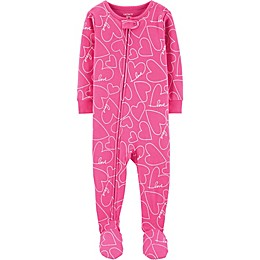 carter's® Heart Zip-Front Footed Pajama in Pink