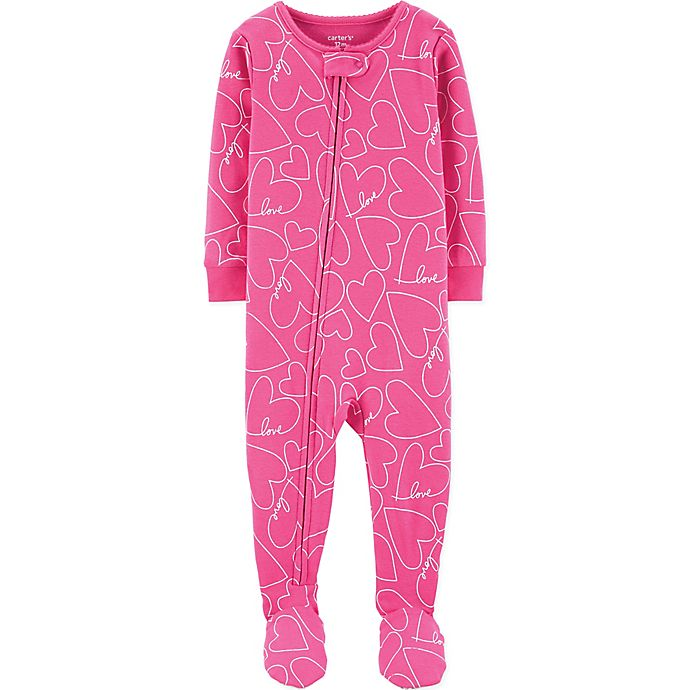 Alternate image 1 for carter's® Heart Zip-Front Footed Pajama in Pink