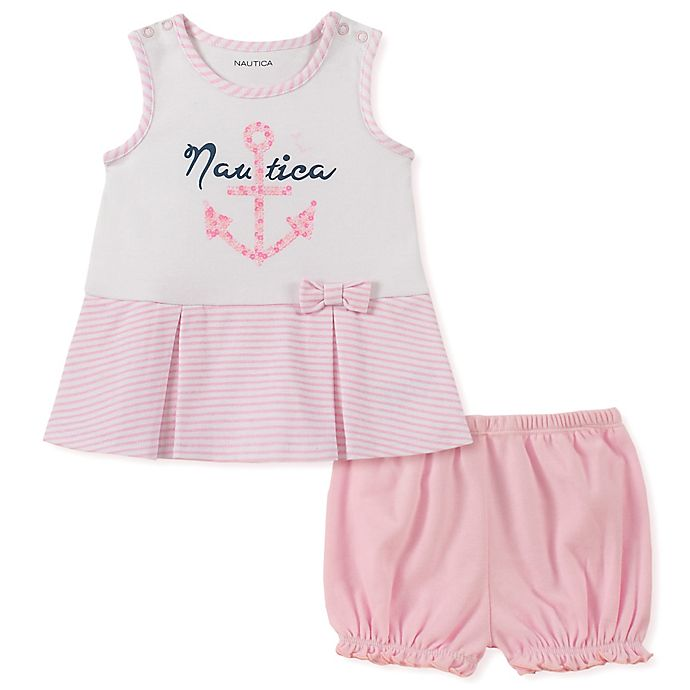 Alternate image 1 for Nautica® 2-Piece Anchor Tank Top and Short Set in Pink