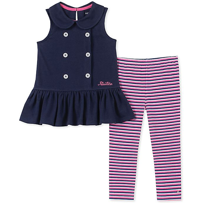 Alternate image 1 for Nautica® 2-Piece Peplum Top and Striped Legging Set in Navy