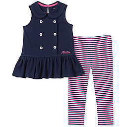 Nautica® 2-Piece Peplum Top and Striped Legging Set in Navy