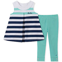 Nautica® 2-Piece Stripe Tank and Legging Set in White/Teal