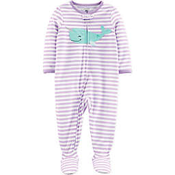 carter's® Striped Whale Zip-Front Footed Pajama in Purple