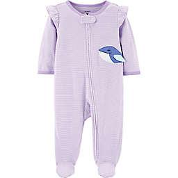 carter's® Stripe Whale Footie in Purple