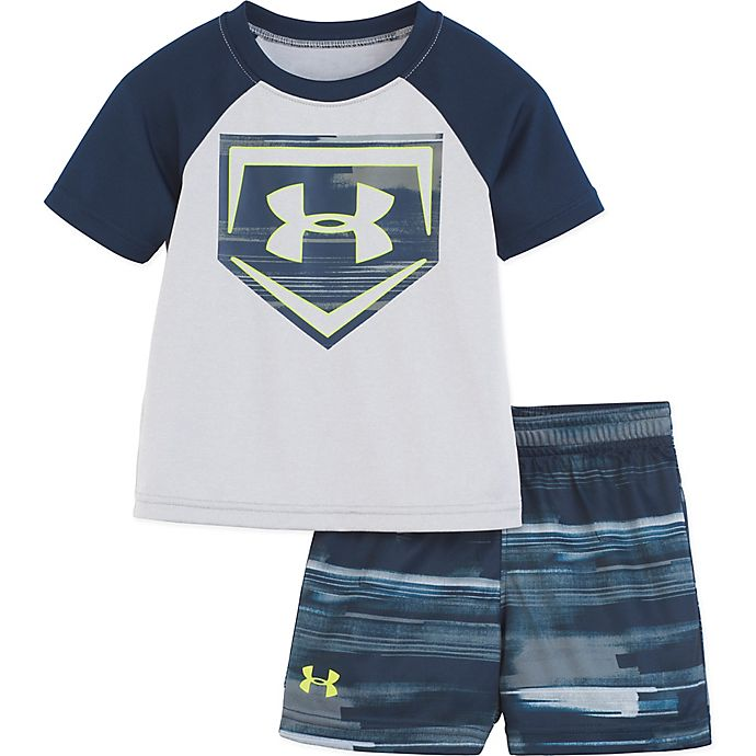 Alternate image 1 for Under Armour® 2-Piece Shirt and Short Set in Grey