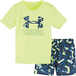 Under Armour® 2-Piece Shirt and Short Set in Grey/Yellow