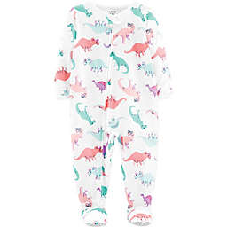 carter's® Dinosaur Zip-Front Footed Pajama in White