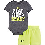 Under Armour® Size 0-3M 2-Piece Play Like A Beast Bodysuit and Short Set in Grey/Yellow
