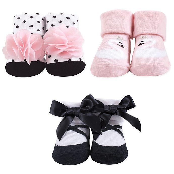 Alternate image 1 for Hudson Baby® Size 0-9M Swan Pink Sock 3-Piece Gift Set