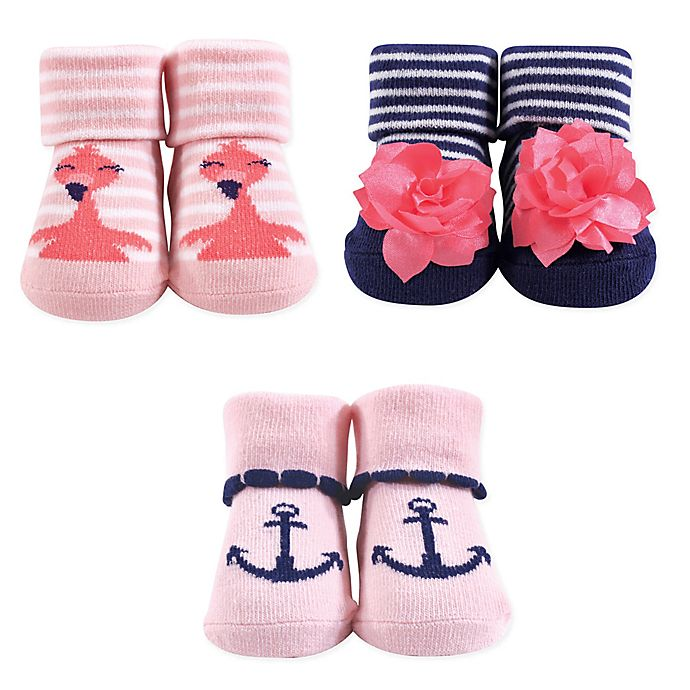 Alternate image 1 for Hudson Baby® Flamingo 3-Piece Sock Set