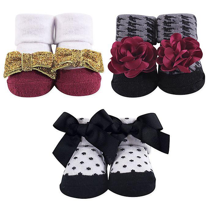 Alternate image 1 for Hudson Baby® Gold Fancy 3-Piece Gift Sock Set