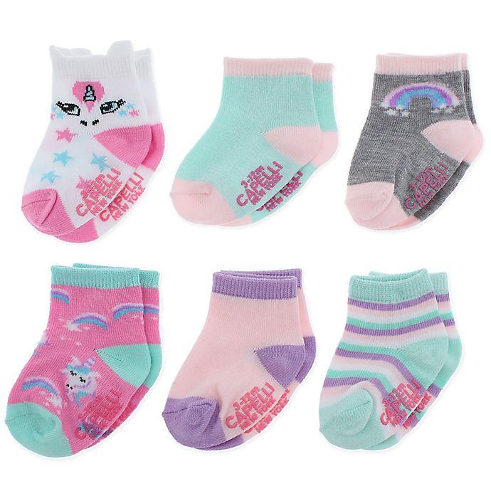 Alternate image 1 for Capelli New York 12-24M 6-Pack Rainbow Unicorn Crew Socks