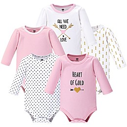Hudson Baby® 5-Pack Heart Long Sleeve Bodysuits in Pink
