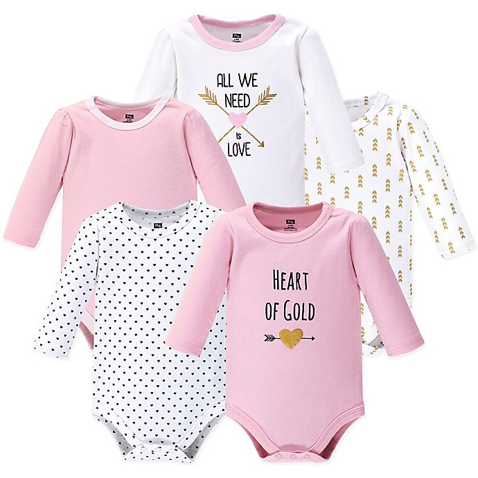 Alternate image 1 for Hudson Baby® 5-Pack Heart Long Sleeve Bodysuits in Pink
