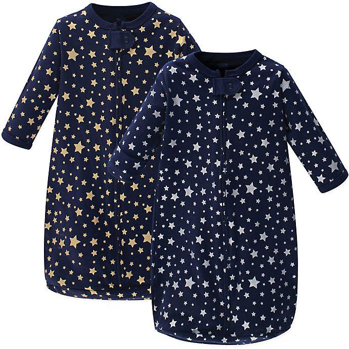 Alternate image 1 for Hudson Baby® 2-Pack Metallic Stars Sleep Sacks in Blue
