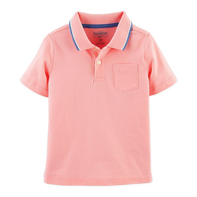 Alternate image 1 for OshKosh B'gosh® Size 3T Tipped Polo Shirt in Pink