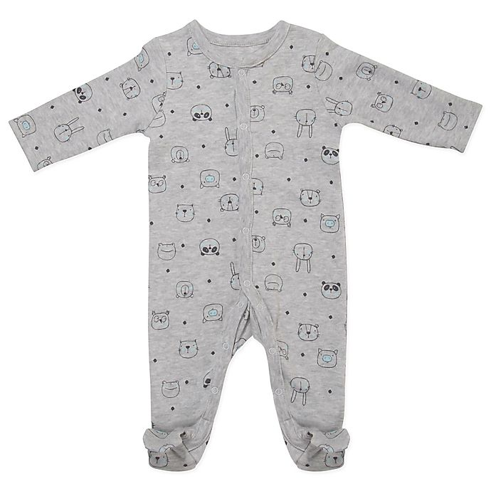 Alternate image 1 for Sterling Baby Animal Faces Footie in Grey