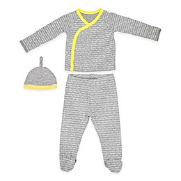 Calvin Klein™ 3-Piece Doodle Rainbow Top, Footed Pant and Hat Set in Grey