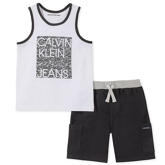 Alternate image 1 for Calvin Klein® 2-Piece Tanktop Shirt and Shorts Set