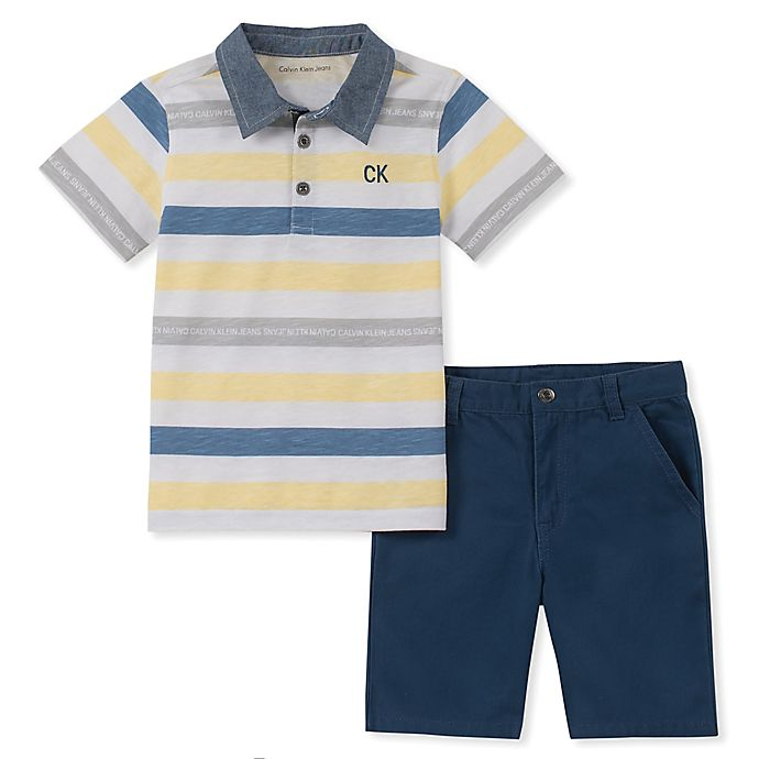 Alternate image 1 for Calvin Klein® 2-Piece Striped Polo Shirt and Short in Navy/Yellow