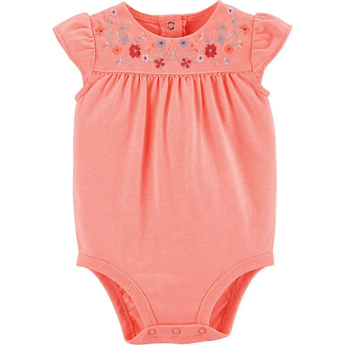 Alternate image 1 for OshKosh B'gosh® Embroidered Floral Bodysuit in Pink