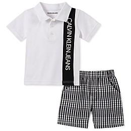 Calvin Klein® 2-Piece Polo Bodysuit and Short in White/Black
