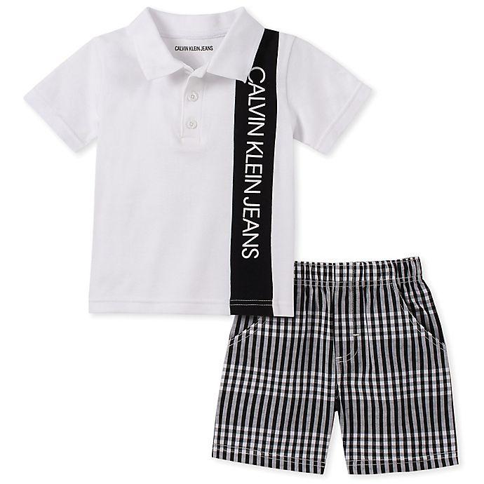 Alternate image 1 for Calvin Klein® 2-Piece Polo Bodysuit and Short in White/Black
