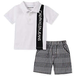 Calvin Klein® 2-Piece Polo Bodysuit and Short in White/Black