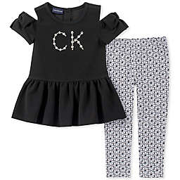 Calvin Klein 2-Piece Cold Shoulder Logo Toddler Shirt and Legging Set in Black