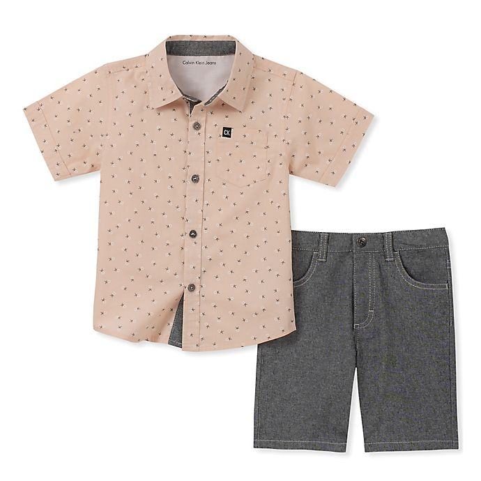 Alternate image 1 for Calvin Klein® 2-Piece Woven Shirt and Chambray Short in Grey/Pink