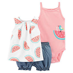 carter's® 3-Piece Watermelon Top, Bodysuit, and Short Set