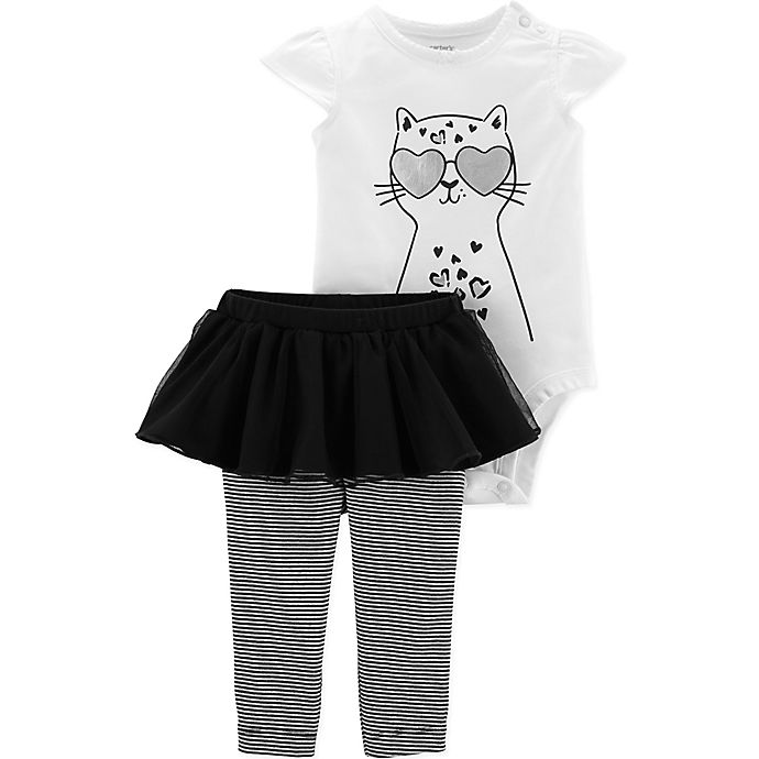 Alternate image 1 for carter's® 2-Piece Cat Bodysuit and Tutu Pant Set in White