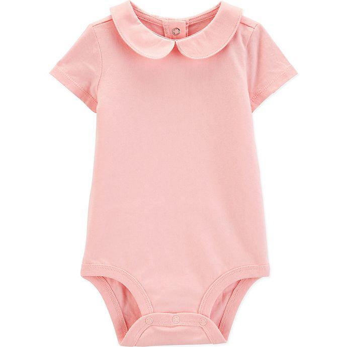 Alternate image 1 for OshKosh B'gosh® Size 3T Peter Pan Collar Short Sleeve Bodysuit in Pink