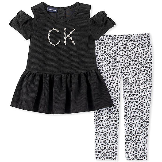 Alternate image 1 for Calvin Klein 2-Piece Cold Shoulder Logo Shirt and Legging Set in Black