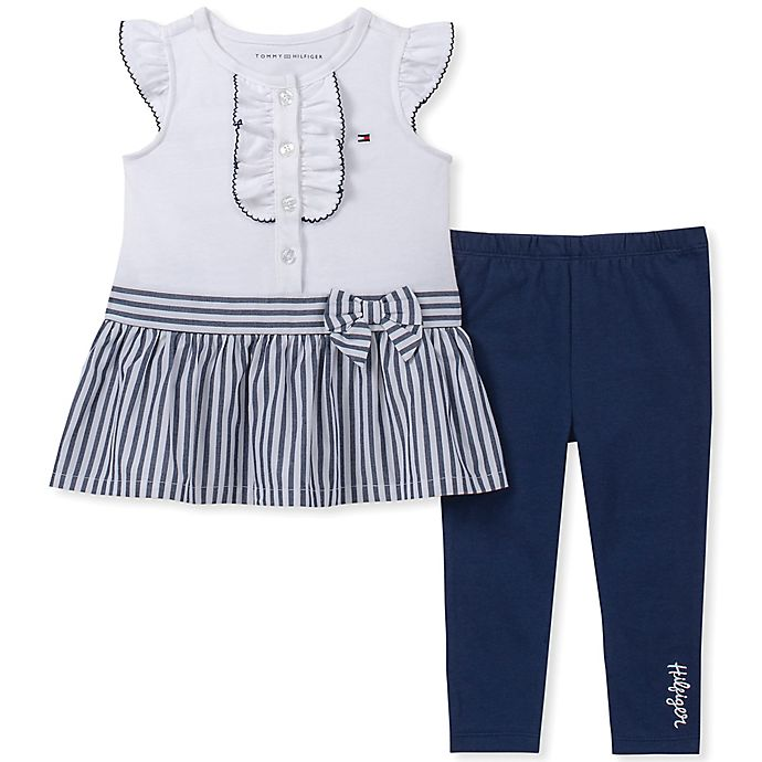 Alternate image 1 for Tommy Hilfiger® 2-Piece Striped Ruffle Shirt and Legging in Navy/White