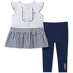 Tommy Hilfiger® 2-Piece Striped Ruffle Shirt and Legging in Navy/White