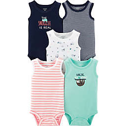 carter's® 5-Pack Sloth Muscle Tank Bodysuits