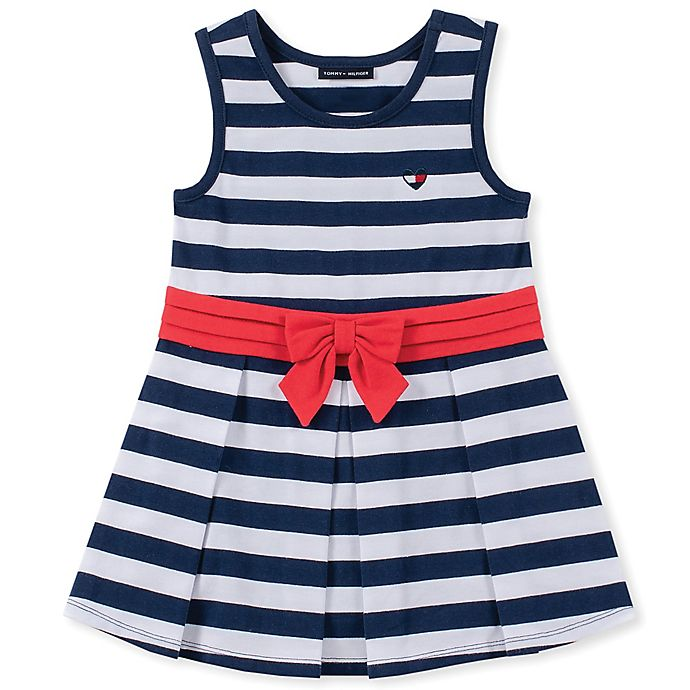 Alternate image 1 for Tommy Hilfiger® Sleeveless Striped Dress in Navy/White