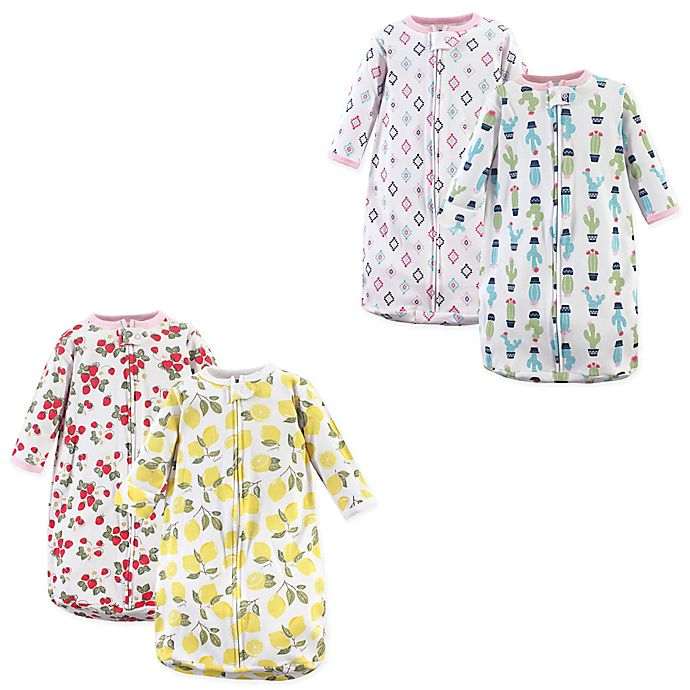 Alternate image 1 for Hudson Baby® Size 0-3M 2-Pack Fruit and Cactus Wearable Blankets