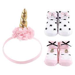 Hudson Baby® Gold/Pink Unicorn Sock & Headband 3-Piece Gift Set