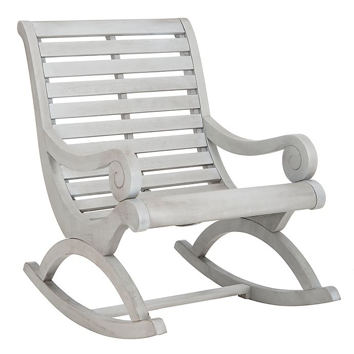 Groovy Safavieh Sonora Patio Rocking Chair In Ash Grey Bed Bath Unemploymentrelief Wooden Chair Designs For Living Room Unemploymentrelieforg