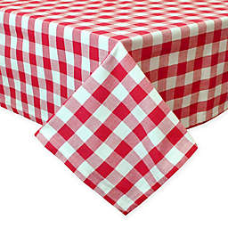 Design Imports Checkers 60-Inch x 84-Inch Oblong Tablecloth in Red/White
