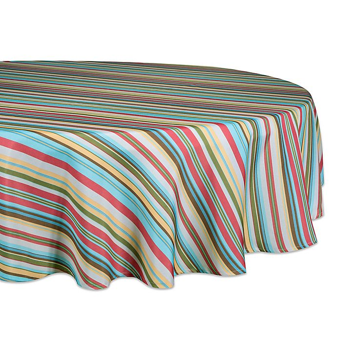 Alternate image 1 for Design Imports Summer Stripe 60-Inch Round Tablecloth