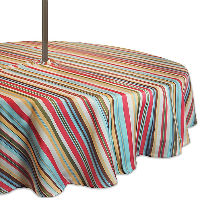 Alternate image 1 for Design Imports Summer Stripe 52-Inch Round Tablecloth with Umbrella Hole