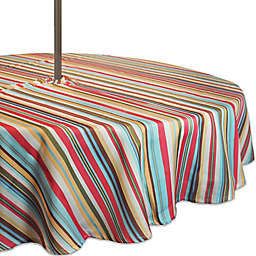 Design Imports Summer Stripe Round Indoor/Outdoor Tablecloth with Umbrella Hole