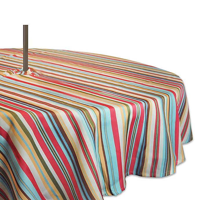 Alternate image 1 for Design Imports Summer Stripe 60-Inch Round Tablecloth with Umbrella Hole