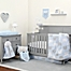 Part of the NoJo® Dreamer Elephant Crib Bedding Collection in Blue/Grey